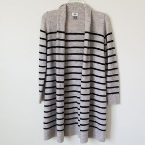 Striped open long cardigan